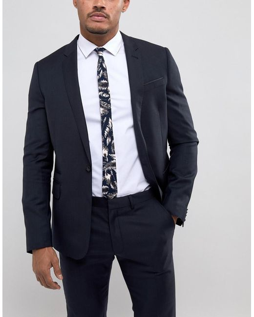 DESIGN Slim Tie With Feather Print In Navy - Navy Asos hourZbO