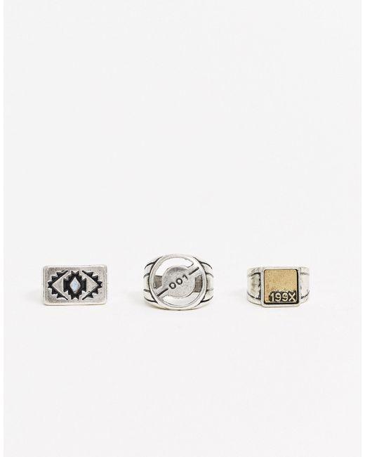 Набор Из 3 Серебристых Колец -серебристый Bershka для него, цвет: Metallic