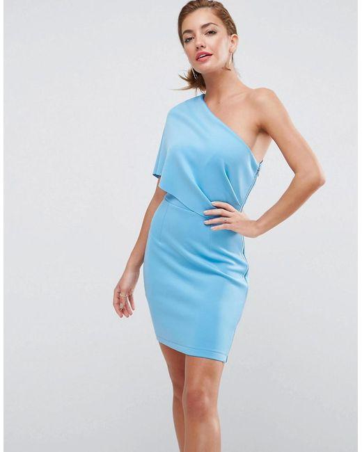 ASOS - Blue Asos One Shoulder Scuba Deep Fold Mini Dress With Exposed Zip - Lyst