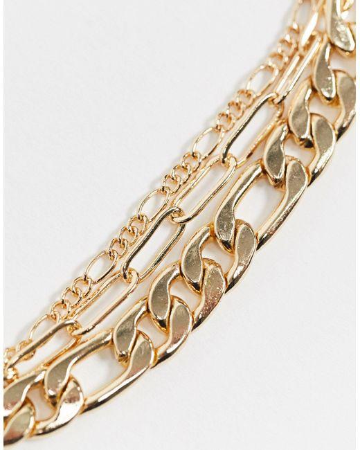 Набор Из 3 Золотистых Ножных Браслетов ASOS, цвет: Metallic