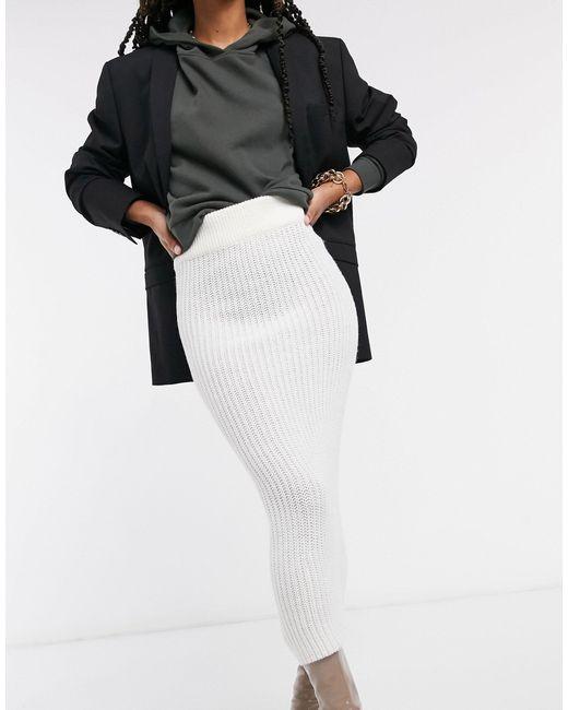 Кремовая Трикотажная Юбка Миди -кремовый AX Paris, цвет: Black
