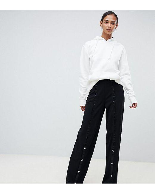 Boutique en ligne b22d2 c8d2a Pantalones de pernera ancha con botones de presión con diseño depurado de  mujer de color negro