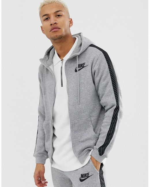 7ffe5b86 Nike - Gray Hoodie With Striped Side Tape In Grey Bq0678-063 for Men ...