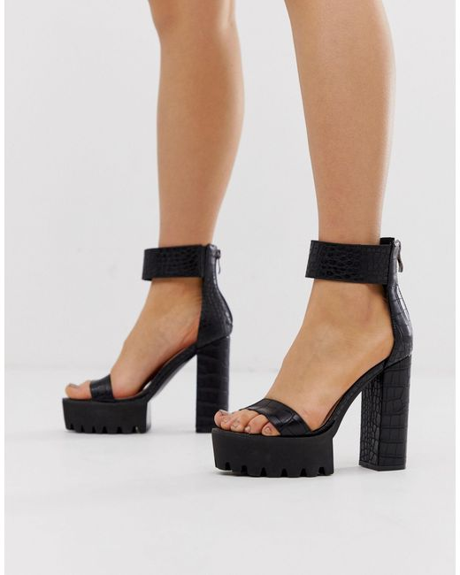 Black Chunky Sandal Heels