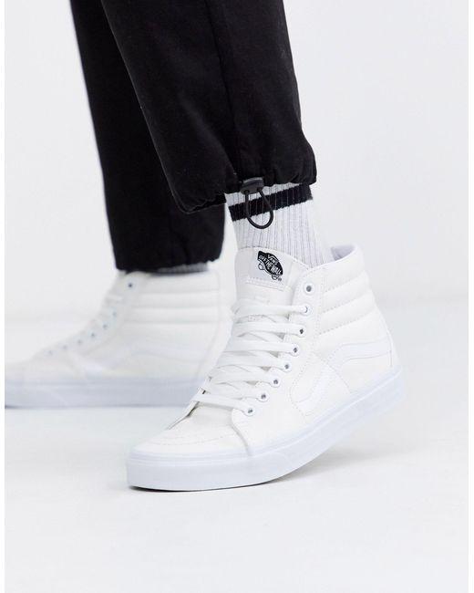 Sk8-Hi - Baskets - Blanc Toile Vans pour homme en coloris Blanc ...