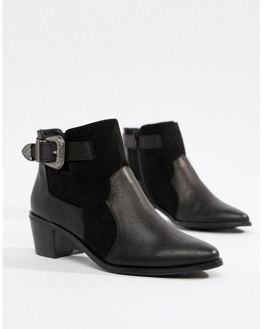 Miss Selfridge - Exclusive Western Ankle Boot In Black - Lyst