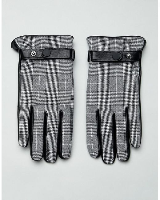 Gants en cuir pour écrans tactiles à carreaux Prince de Galles - Noir ASOS pour homme en coloris Black