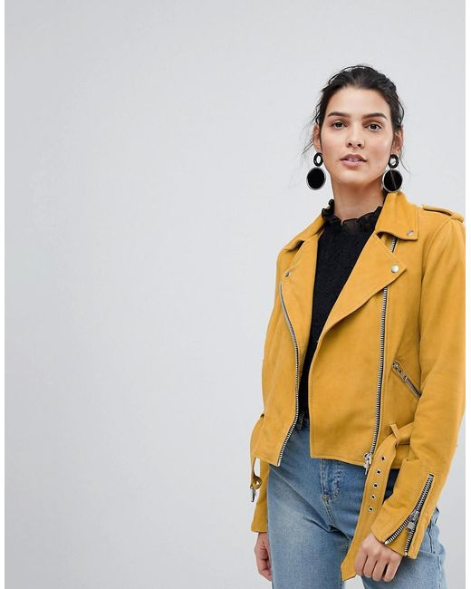 Y.A.S Yellow Suede Biker Jacket