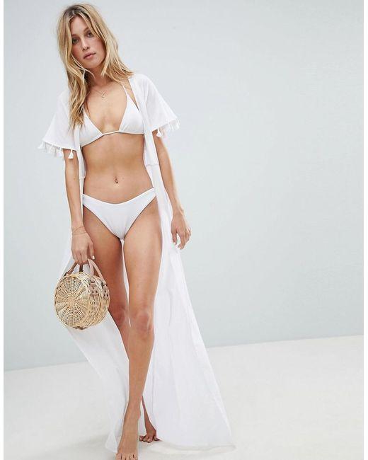 ASOS - White Maxi Beach Kimono With Tassel Trim - Lyst