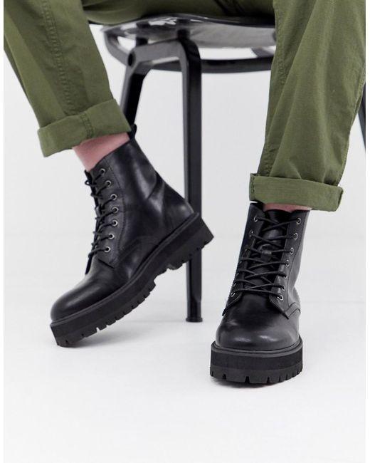Черные Ботинки Из Искусственной Кожи На Шнуровке ASOS для него, цвет: Black