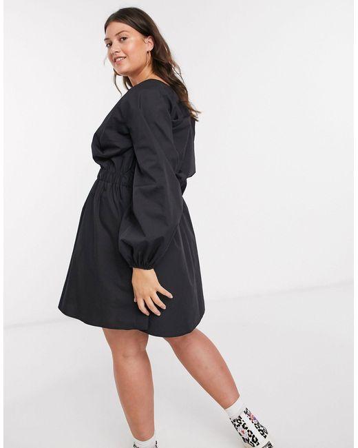 Черное Платье Мини Из Хлопкового Поплина С V-образным Вырезом ASOS, цвет: Black