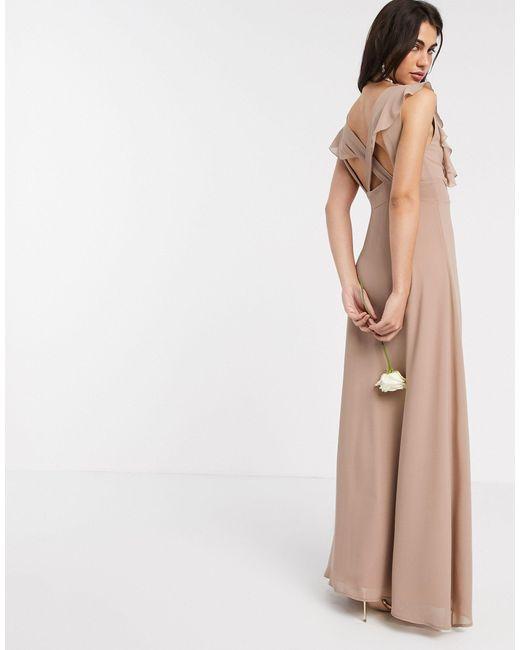 Бежевое Платье Макси С Оборками Bridesmaid-коричневый TFNC London, цвет: Brown