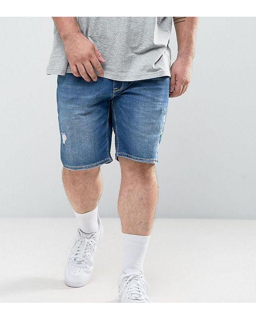ASOS - Asos Plus Skinny Denim Shorts In Mid Wash Blue With Rip And Repair for Men - Lyst