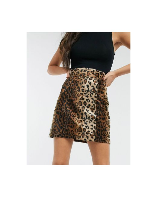Мини-юбка С Леопардовым Принтом ASOS, цвет: Black