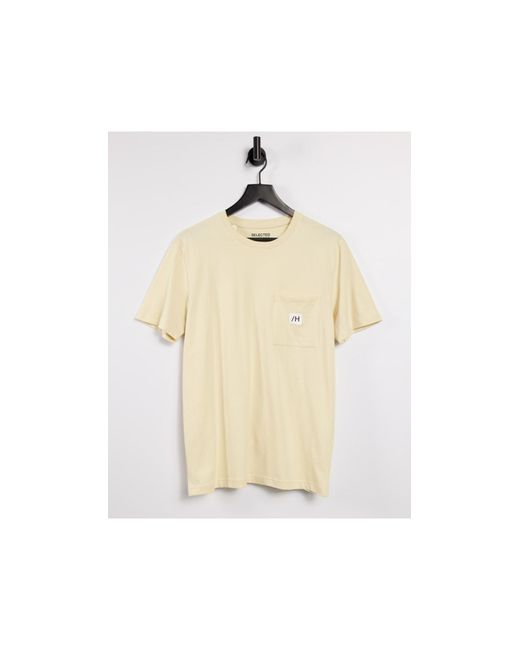T-shirt con tasca con logo beige di SELECTED in Natural da Uomo
