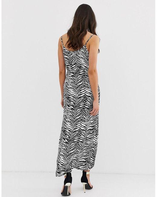 ... ASOS - Multicolor Asos Design Tall Cami Wrap Maxi Dress In Mono Zebra  Print - Lyst 84593d7f3
