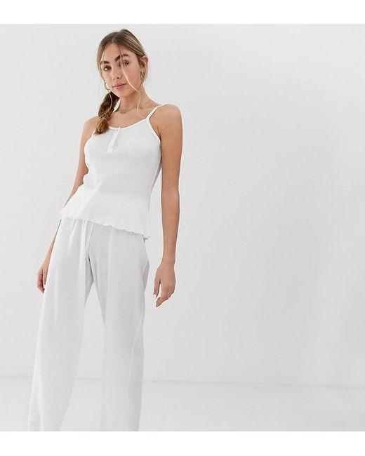 ASOS Pyjamabroek Met Wafelmotief in het White