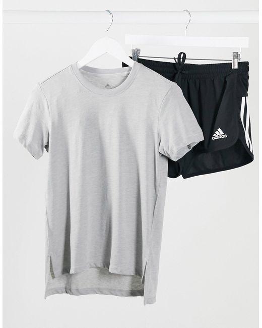 Adidas - T-shirt da allenamento grigia di Adidas Originals in Gray