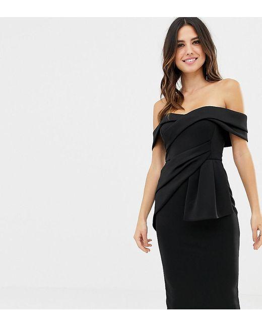 9337bbd8aeb5 ASOS - Black Asos Design Petite Bardot Fold Wrap Front Midi Pencil Dress -  Lyst ...