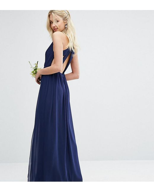 TFNC London Blue Pleated Maxi Bridesmaid Dress With Back Detail