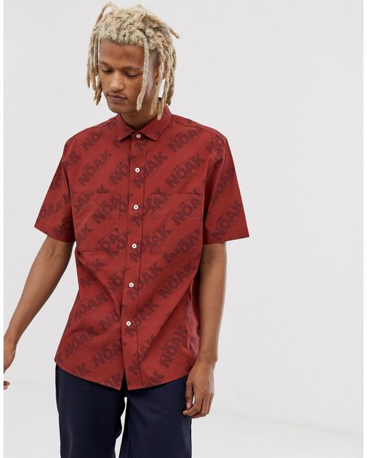 Рубашка С Накладными Карманами -красный Noak для него, цвет: Red