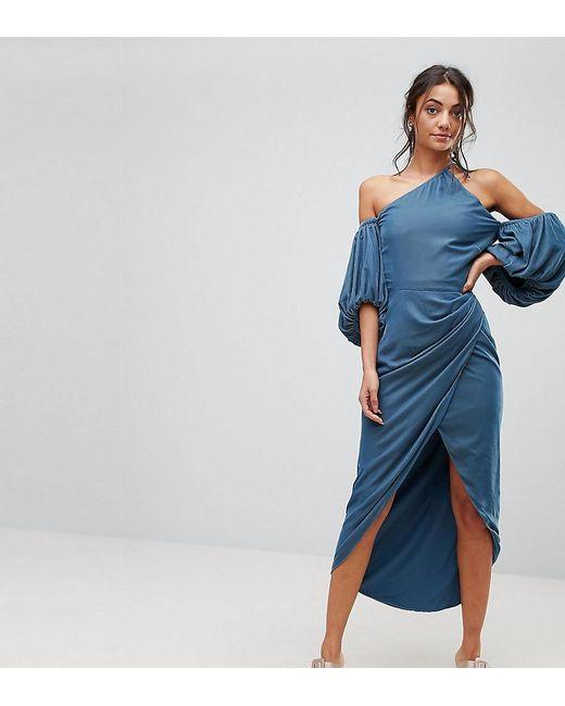 ASOS - Blue One Shoulder Velvet Drape Midi Dress - Lyst