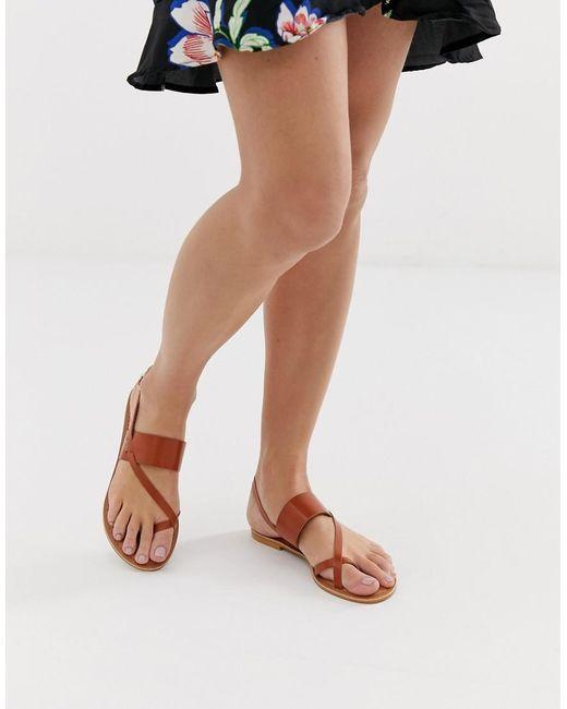 Marrón Mujer Flisse Sandalias Planas Cuero De Color rCthQsdx