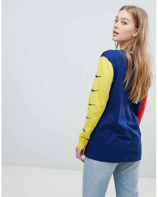d53b4992 ... Nike - Blue Exclusive To Asos Color Block Swoosh Pack Long Sleeve T- shirt -