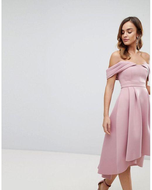 c29f2361c4c4 ASOS - Pink Asos Bardot Cold Shoulder Dip Back Midi Prom Dress - Lyst ...