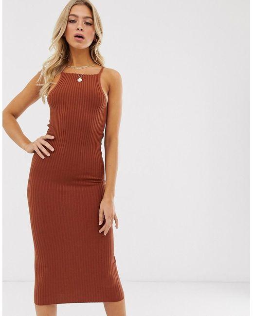 ASOS Geribbelde Midi-jurk Met Vierkante Hals in het Red