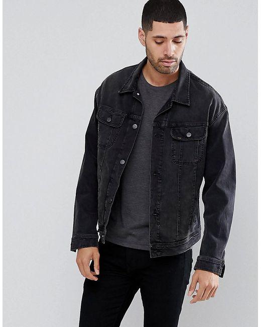 Lee Jeans - Rider Oversized Denim Washed Black Jacket for Men - Lyst