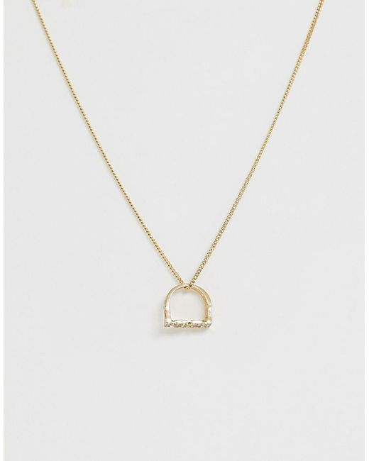 ASOS Metallic Necklace With Vintage Style Mum Ring Pendant In Gold