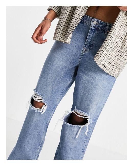 Jeans larghi lavaggio medio anni '90 con strappi vistosi di ASOS in Blue da Uomo