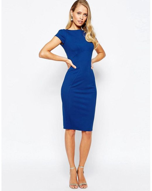 Closet | Blue Closet Pencil Dress With Ruched Cap Sleeve | Lyst