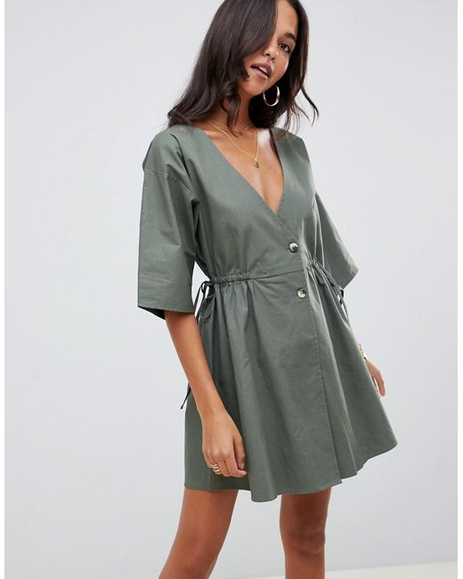 ASOS - Green V Front V Back Casual Smock Mini Dress With Buttons - Lyst