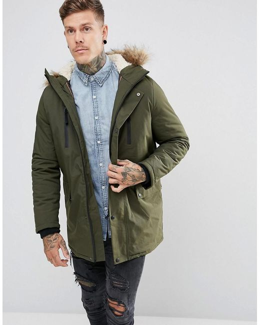 MEN; Search for items, brands and inspiration. Sign In. Bershka short parka with faux fur hood in khaki brown. £ G-Star whistler recycled polyester long line padded coat with hood. £ New Look Parka Coat. £ New Look Parka Coat. £ Vero Moda faux fur hooded parka.