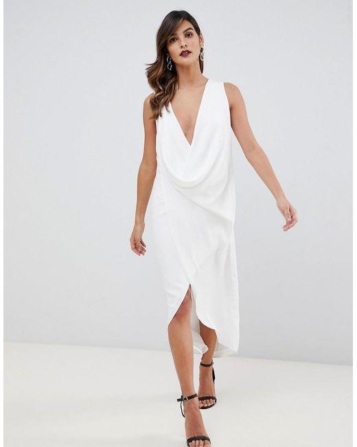 Креповое Платье Миди Без Рукавов С Драпировкой ASOS, цвет: White