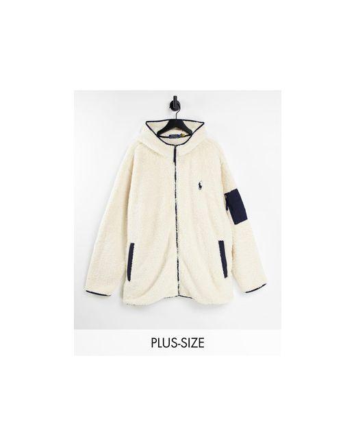 Sudadera color con capucha, llera y logo distintivo Polo Ralph Lauren de hombre de color White