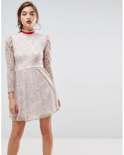 ASOS - Gray Lace Puff Sleeve Mini Dress With Ribbon Neck - Lyst