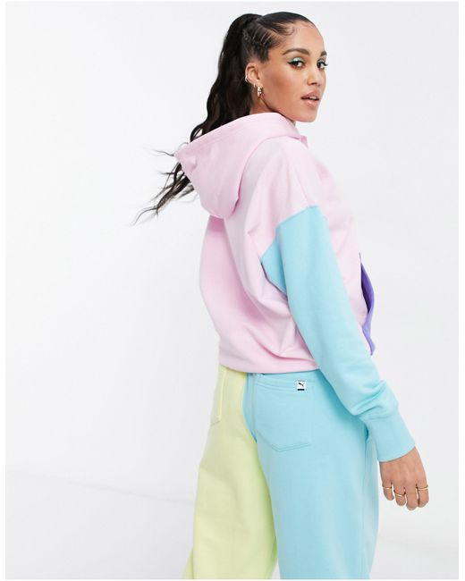 PUMA Downtown Colourblock Hoodie in Pink - Lyst