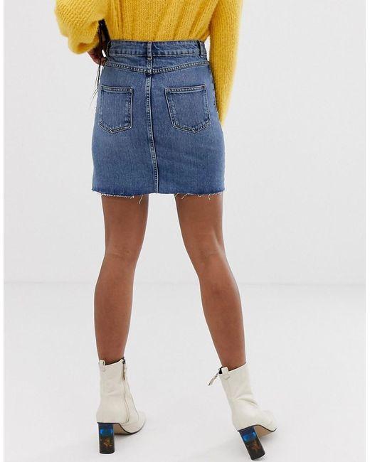 d3ae414df3d7f8 Mini-jupe en jean - Bleu délavé moyen femme