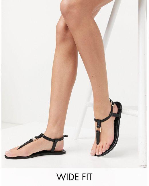 ASOS Black Wide Fit Fulfil Hardware Flat Sandals