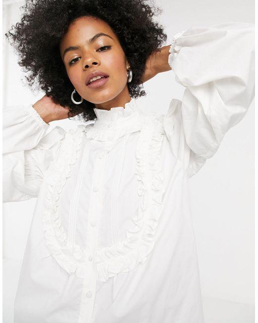 Blusa con detalle TOPSHOP de color White