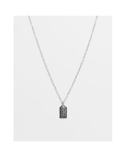 Серебристая Цепочка С Подвеской-жетоном, Украшенной Эмалью -серебристый Icon Brand для него, цвет: Metallic
