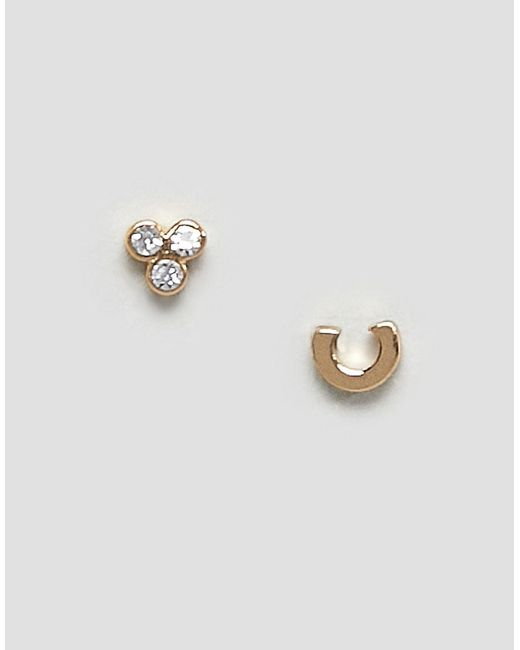 Orelia - Metallic C Initial Earrings - Lyst