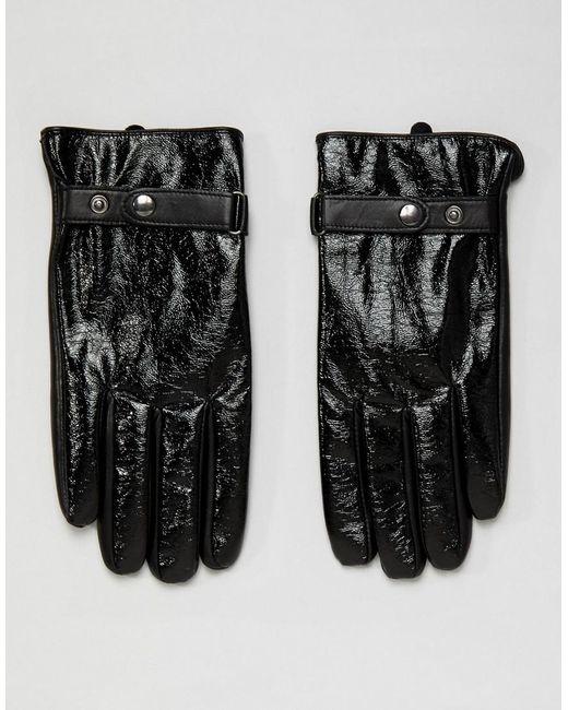 Gants en cuir avec finition vinyle pour écran tactile - Noir ASOS pour homme en coloris Black