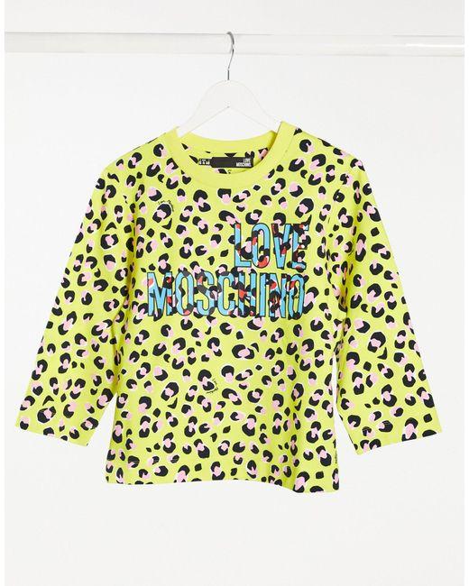 Желтый Свитшот С Ярким Леопардовым Принтом И Логотипом Love Moschino, цвет: Yellow