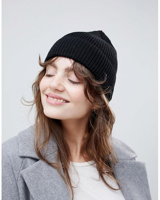 ASOS - Black Fisherman Rib Beanie In Recycled Polyester - Lyst ... 4ffed4dc3d9