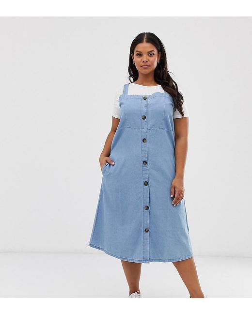 Simply Be Denim Midi Dress With Button Through In Blue
