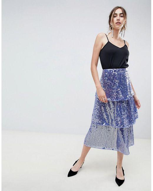 79152851be067e Jupe mi-longue avec franges et sequins femme de coloris bleu